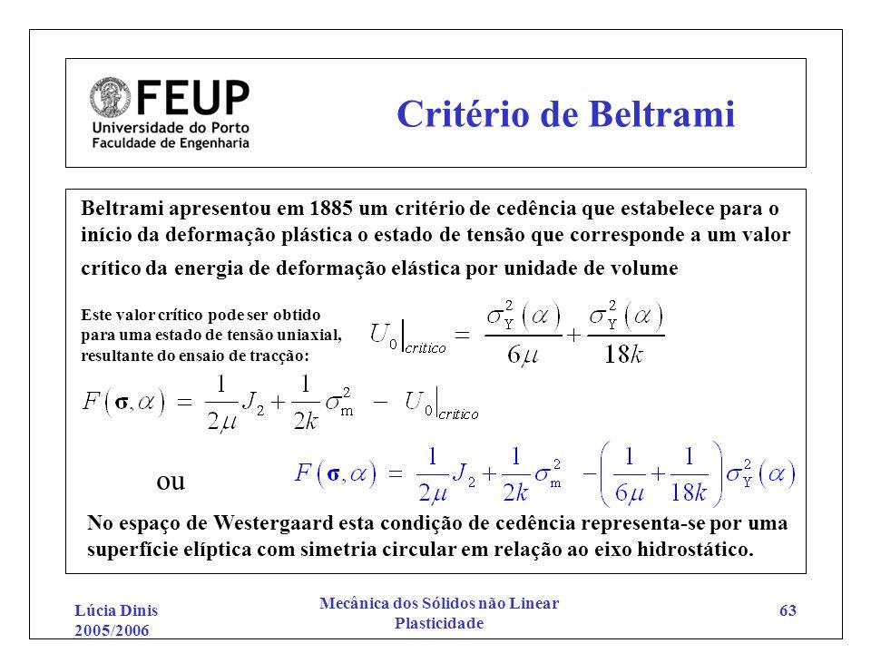 Lúcia Dinis 2005/2006 Mecânica dos Sólidos não Linear Plasticidade 63 Critério de Beltrami Beltrami apresentou em 1885 um critério de cedência que est