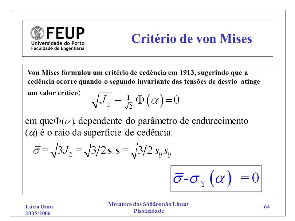 Lúcia Dinis 2005/2006 Mecânica dos Sólidos não Linear Plasticidade 64 Critério de von Mises Von Mises formulou um critério de cedência em 1913, sugeri