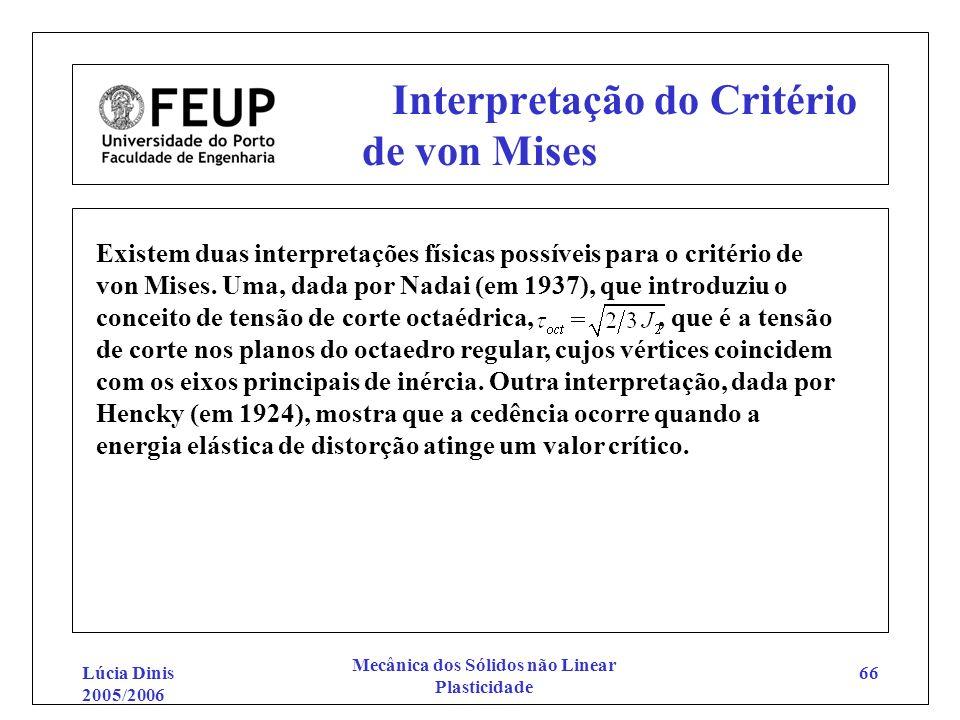 Lúcia Dinis 2005/2006 Mecânica dos Sólidos não Linear Plasticidade 66 Interpretação do Critério de von Mises Existem duas interpretações físicas possí
