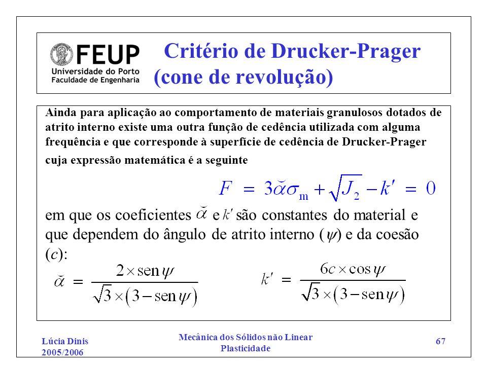 Lúcia Dinis 2005/2006 Mecânica dos Sólidos não Linear Plasticidade 67 Critério de Drucker-Prager (cone de revolução) Ainda para aplicação ao comportam