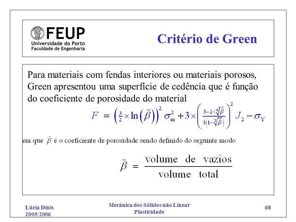 Lúcia Dinis 2005/2006 Mecânica dos Sólidos não Linear Plasticidade 68 Critério de Green Para materiais com fendas interiores ou materiais porosos, Gre