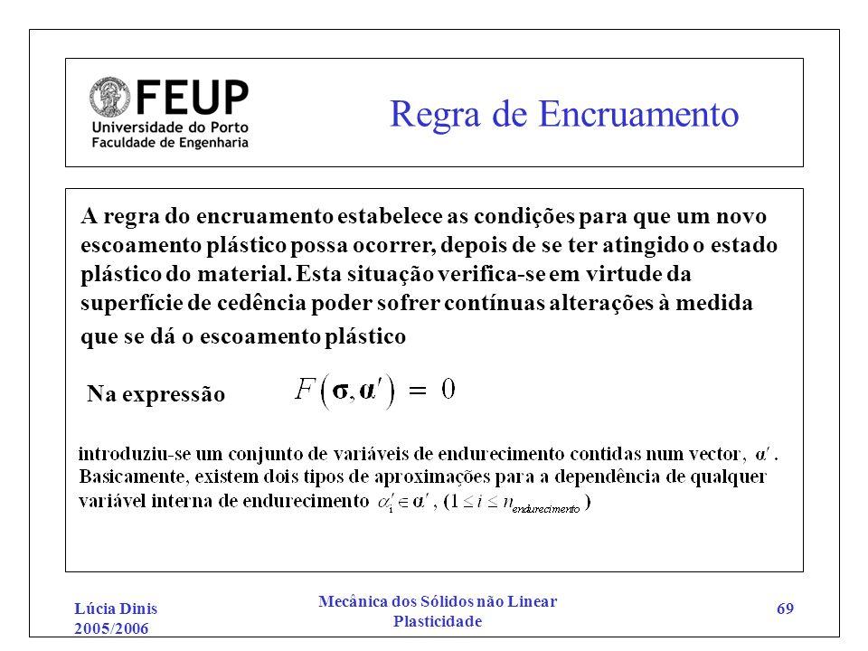 Lúcia Dinis 2005/2006 Mecânica dos Sólidos não Linear Plasticidade 69 Regra de Encruamento A regra do encruamento estabelece as condições para que um