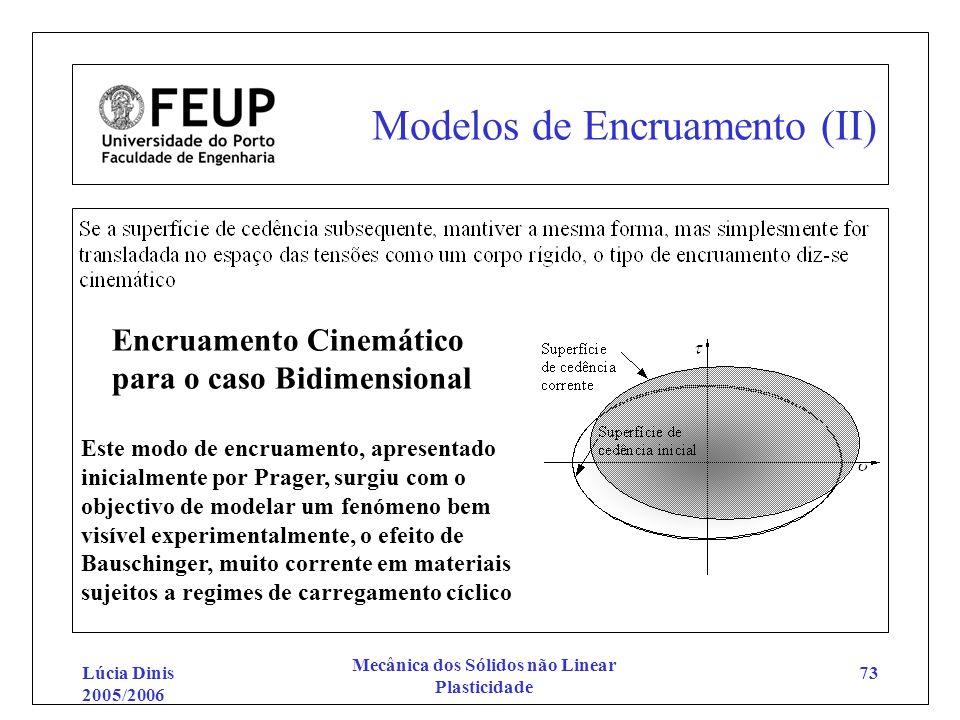 Lúcia Dinis 2005/2006 Mecânica dos Sólidos não Linear Plasticidade 73 Modelos de Encruamento (II) Encruamento Cinemático para o caso Bidimensional Est