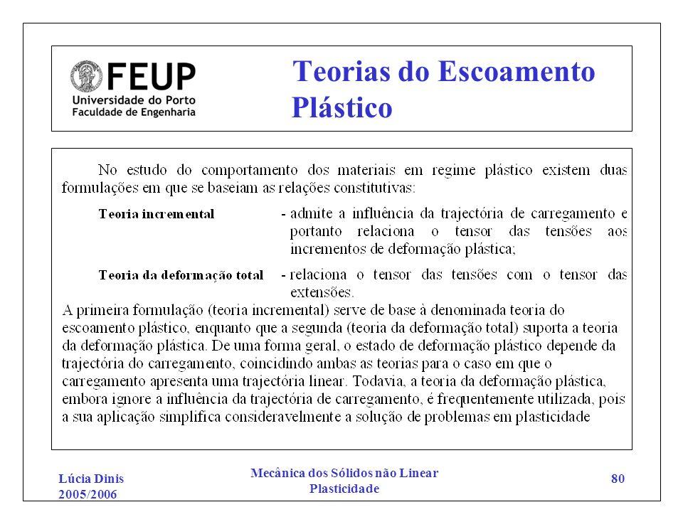 Lúcia Dinis 2005/2006 Mecânica dos Sólidos não Linear Plasticidade 80 Teorias do Escoamento Plástico