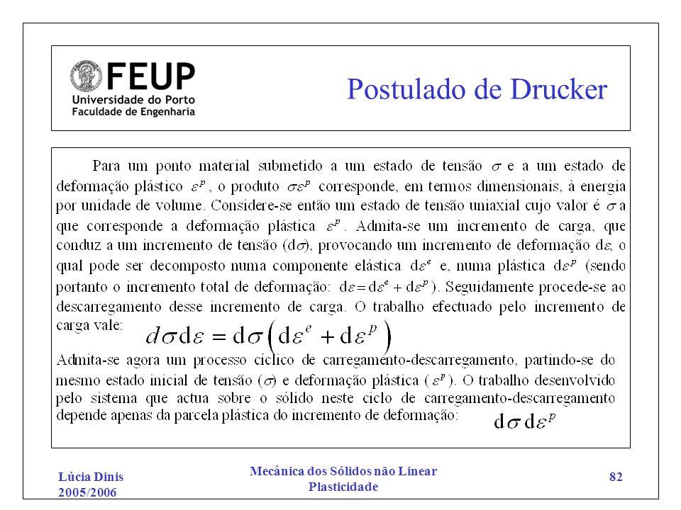 Lúcia Dinis 2005/2006 Mecânica dos Sólidos não Linear Plasticidade 82 Postulado de Drucker