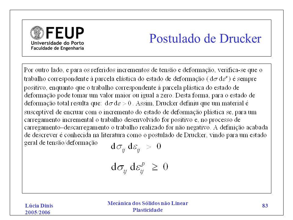Lúcia Dinis 2005/2006 Mecânica dos Sólidos não Linear Plasticidade 83 Postulado de Drucker