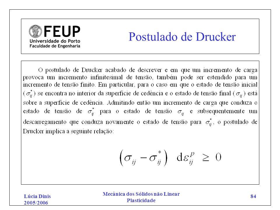 Lúcia Dinis 2005/2006 Mecânica dos Sólidos não Linear Plasticidade 84 Postulado de Drucker