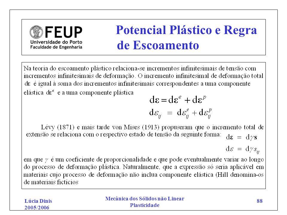 Lúcia Dinis 2005/2006 Mecânica dos Sólidos não Linear Plasticidade 88 Potencial Plástico e Regra de Escoamento