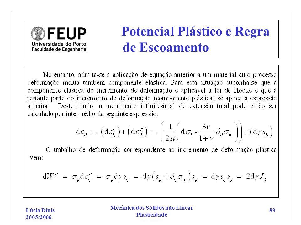 Lúcia Dinis 2005/2006 Mecânica dos Sólidos não Linear Plasticidade 89 Potencial Plástico e Regra de Escoamento
