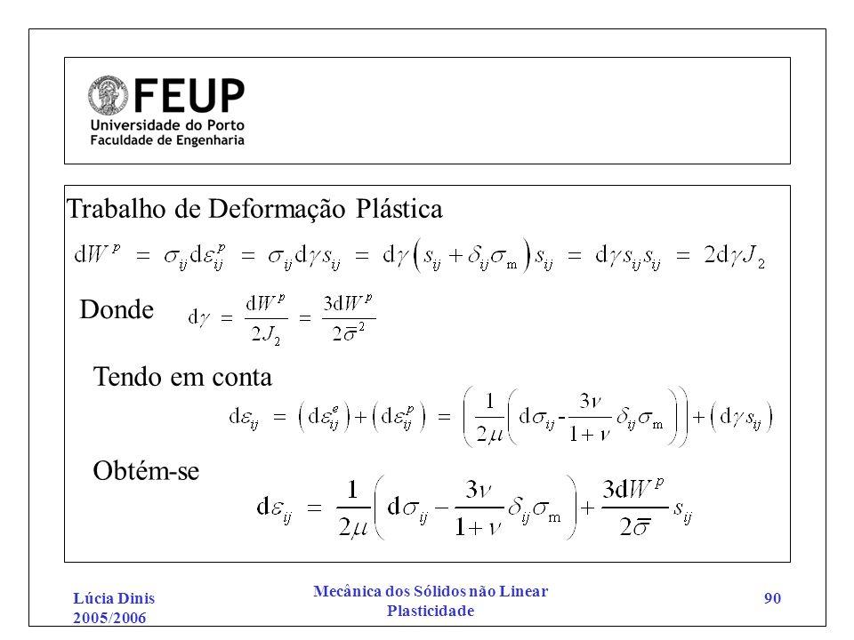 Lúcia Dinis 2005/2006 Mecânica dos Sólidos não Linear Plasticidade 90 Trabalho de Deformação Plástica Donde Tendo em conta Obtém-se