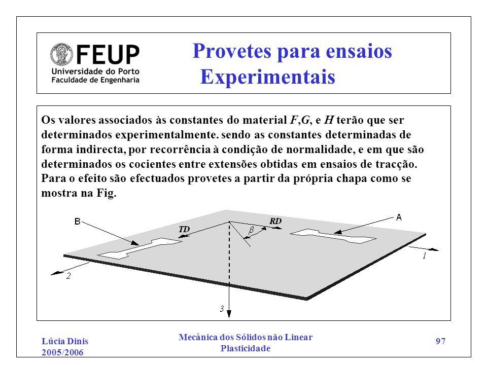 Lúcia Dinis 2005/2006 Mecânica dos Sólidos não Linear Plasticidade 97 Provetes para ensaios Experimentais Os valores associados às constantes do mater