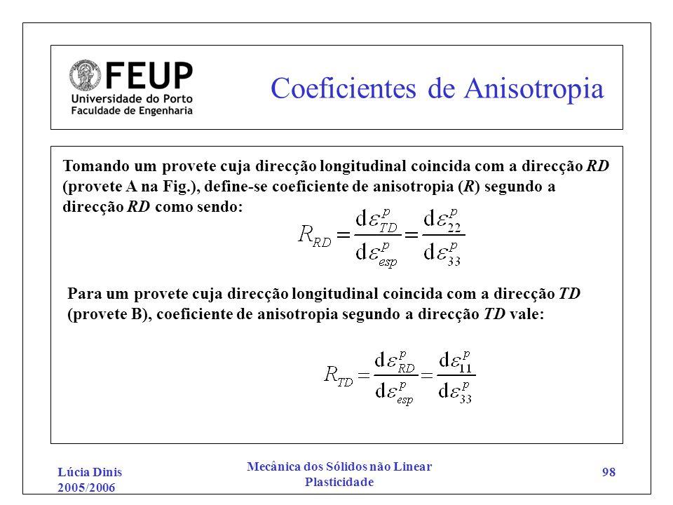 Lúcia Dinis 2005/2006 Mecânica dos Sólidos não Linear Plasticidade 98 Coeficientes de Anisotropia Tomando um provete cuja direcção longitudinal coinci