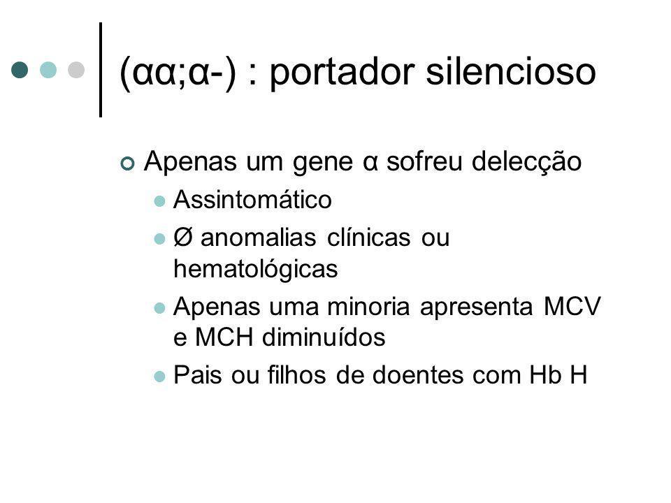 (αα;α-) : portador silencioso Apenas um gene α sofreu delecção Assintomático Ø anomalias clínicas ou hematológicas Apenas uma minoria apresenta MCV e