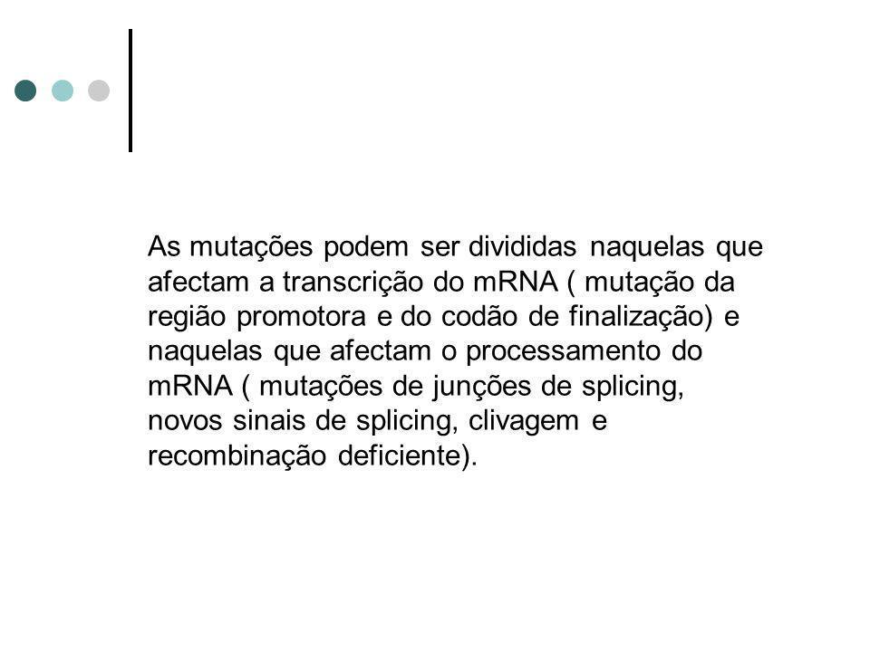 As mutações podem ser divididas naquelas que afectam a transcrição do mRNA ( mutação da região promotora e do codão de finalização) e naquelas que afe