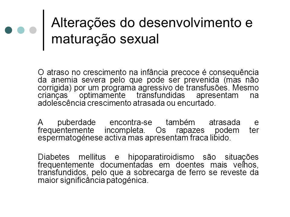 Alterações do desenvolvimento e maturação sexual O atraso no crescimento na infância precoce é consequência da anemia severa pelo que pode ser preveni