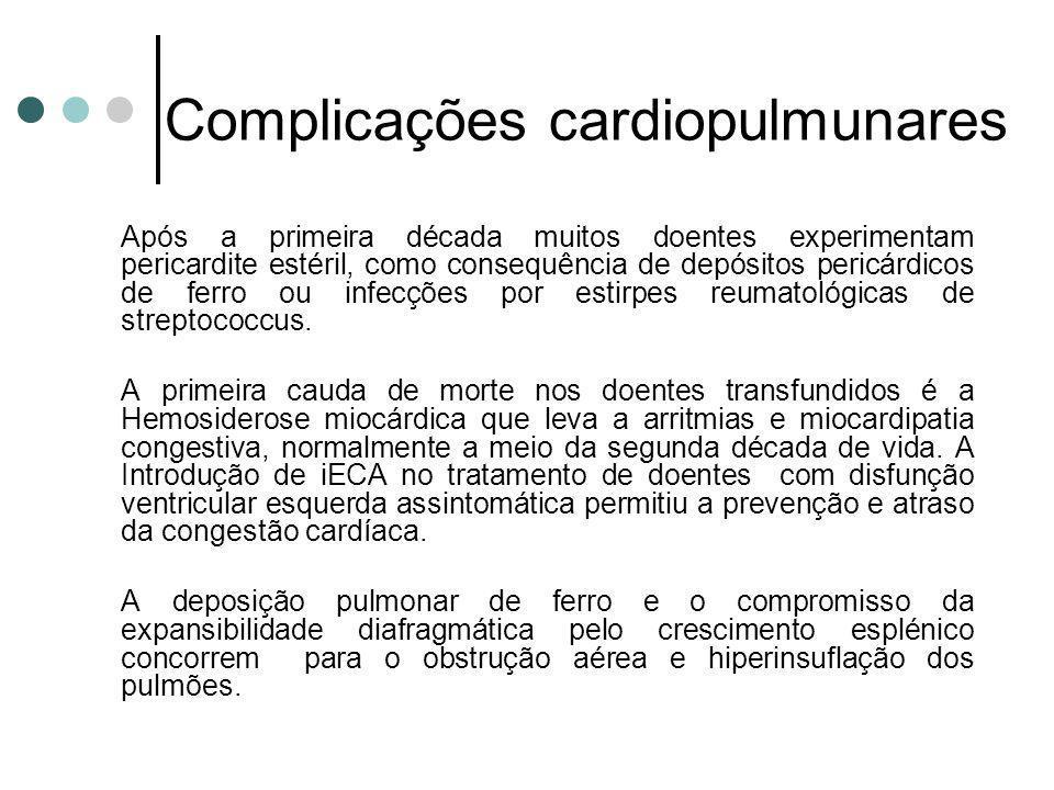Complicações cardiopulmunares Após a primeira década muitos doentes experimentam pericardite estéril, como consequência de depósitos pericárdicos de f