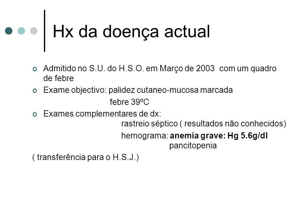 Hx da doença actual Admitido no S.U. do H.S.O. em Março de 2003 com um quadro de febre Exame objectivo: palidez cutaneo-mucosa marcada febre 39ºC Exam