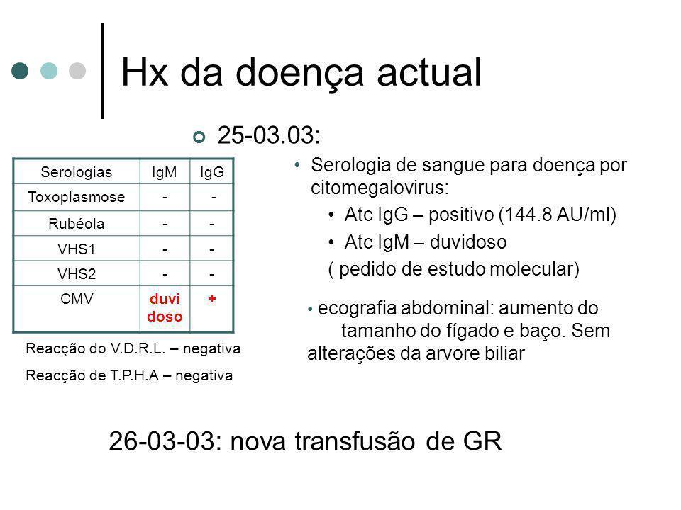 Hx da doença actual 25-03.03: Serologia de sangue para doença por citomegalovirus: Atc IgG – positivo (144.8 AU/ml) Atc IgM – duvidoso ( pedido de est