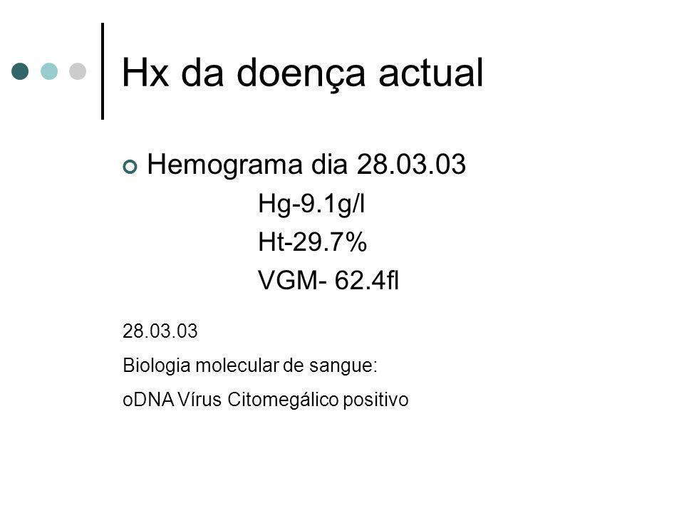 Hx da doença actual Hemograma dia 28.03.03 Hg-9.1g/l Ht-29.7% VGM- 62.4fl 28.03.03 Biologia molecular de sangue: oDNA Vírus Citomegálico positivo