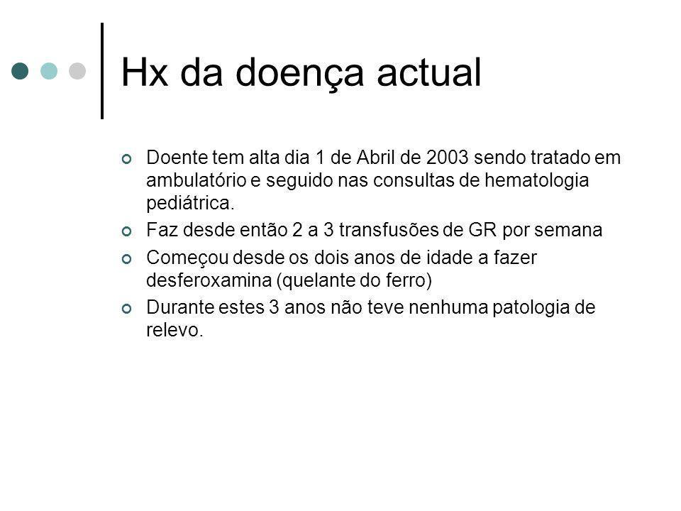 Hx da doença actual Doente tem alta dia 1 de Abril de 2003 sendo tratado em ambulatório e seguido nas consultas de hematologia pediátrica. Faz desde e