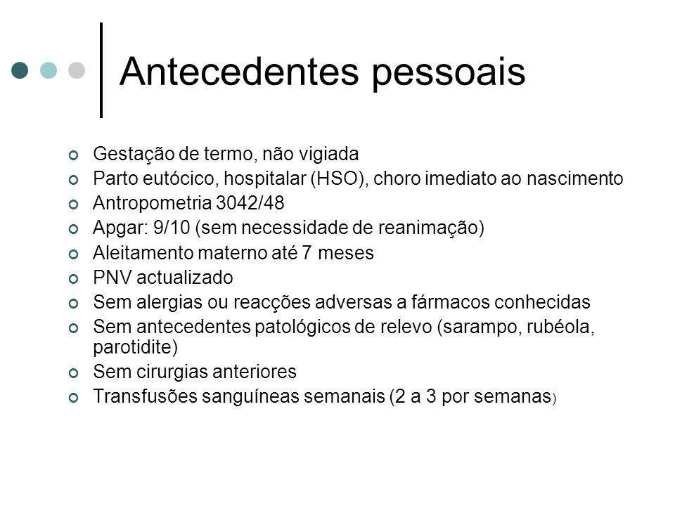 Antecedentes pessoais Gestação de termo, não vigiada Parto eutócico, hospitalar (HSO), choro imediato ao nascimento Antropometria 3042/48 Apgar: 9/10