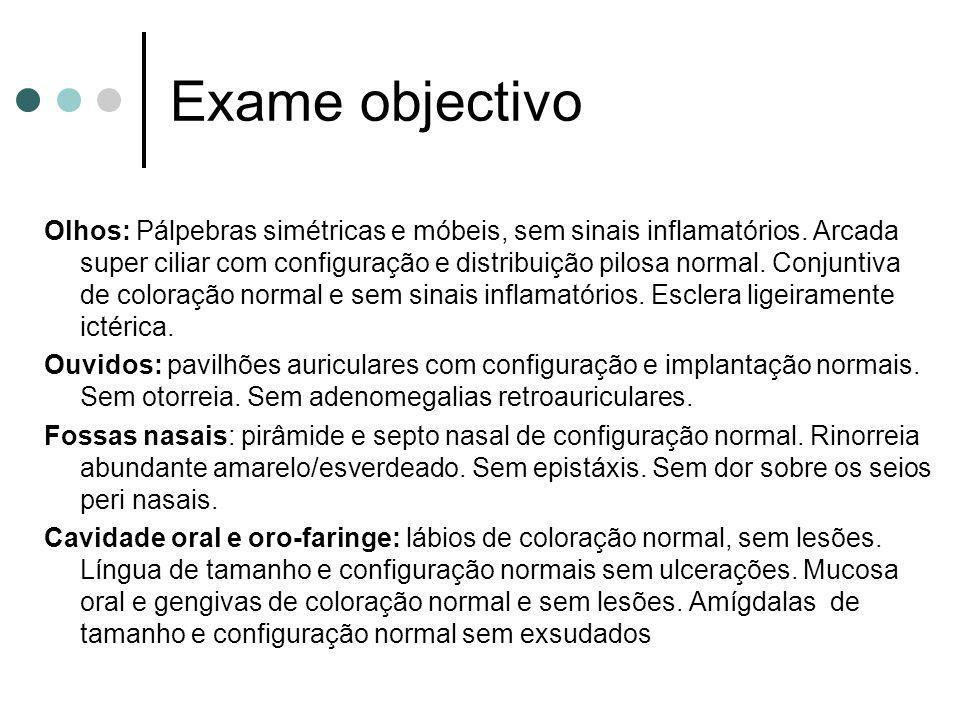 Exame objectivo Olhos: Pálpebras simétricas e móbeis, sem sinais inflamatórios. Arcada super ciliar com configuração e distribuição pilosa normal. Con