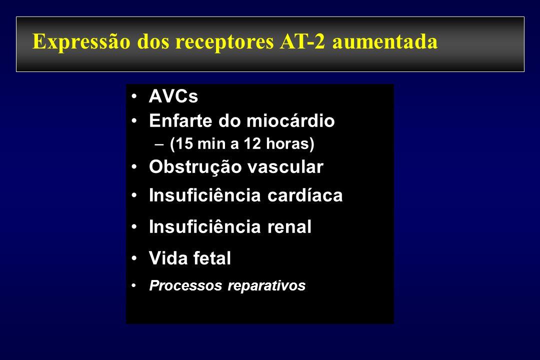 Angiotensina II LosartanIbesartanCandesartanValsartanTelmisartanSalarasina HomensAnimais Receptor AT 1 AT 2 AT 3 ? AT 4 ? HomensAnimaisAnimaisAnimais