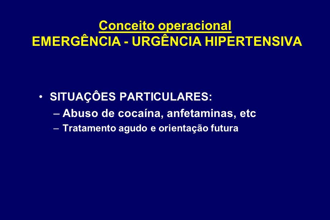 Distribuição das emergências hipertensivas Zampaglione Hypertension 1996; 27(1):144) Enfarte cerebral Edema agudo do pulmão Encefalopatia hipertensiva