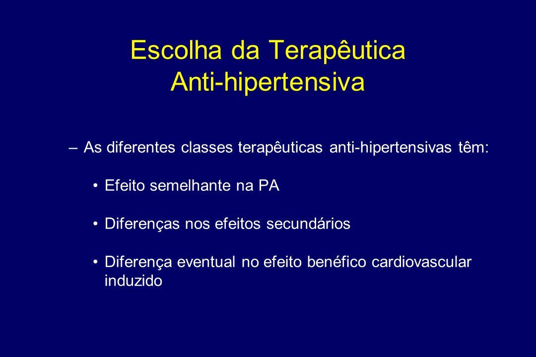 Objectivos do Tratamento Na população geral para valores < 140/90 mm Hg Nos diabéticos e Insuficiencia renal < 130/80 mmHg REDUZIR A PA