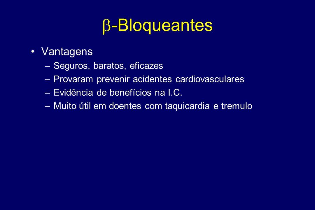 -Bloqueantes PROPRANOLOL –Bloqueador não selectivo (B1 e B2) –Lipofílico (> travessia hematoencefálica) –Curta duração acção ATENOLOL, METOPROLOL, BIS