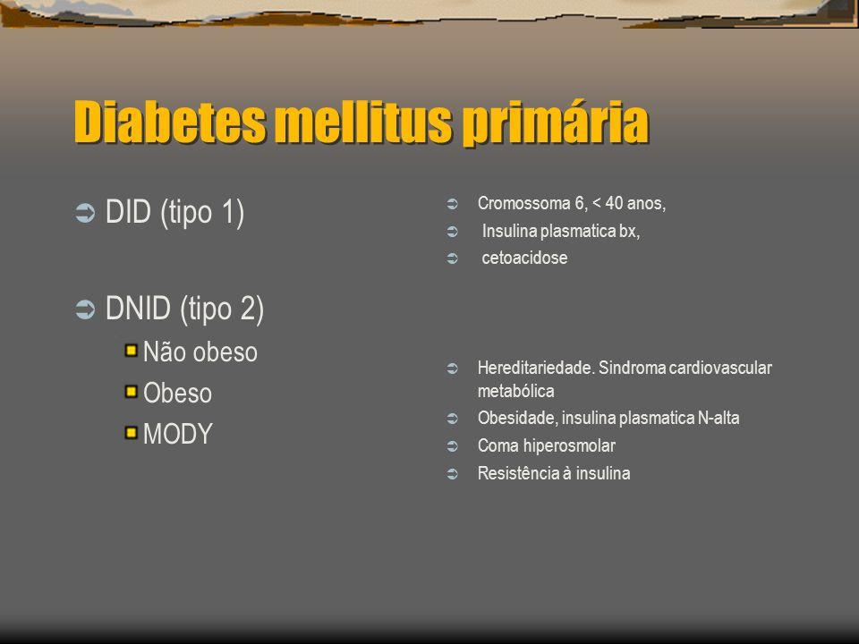 Diabetes mellitus primária DID (tipo 1) DNID (tipo 2) Não obeso Obeso MODY Cromossoma 6, < 40 anos, Insulina plasmatica bx, cetoacidose Hereditariedade.