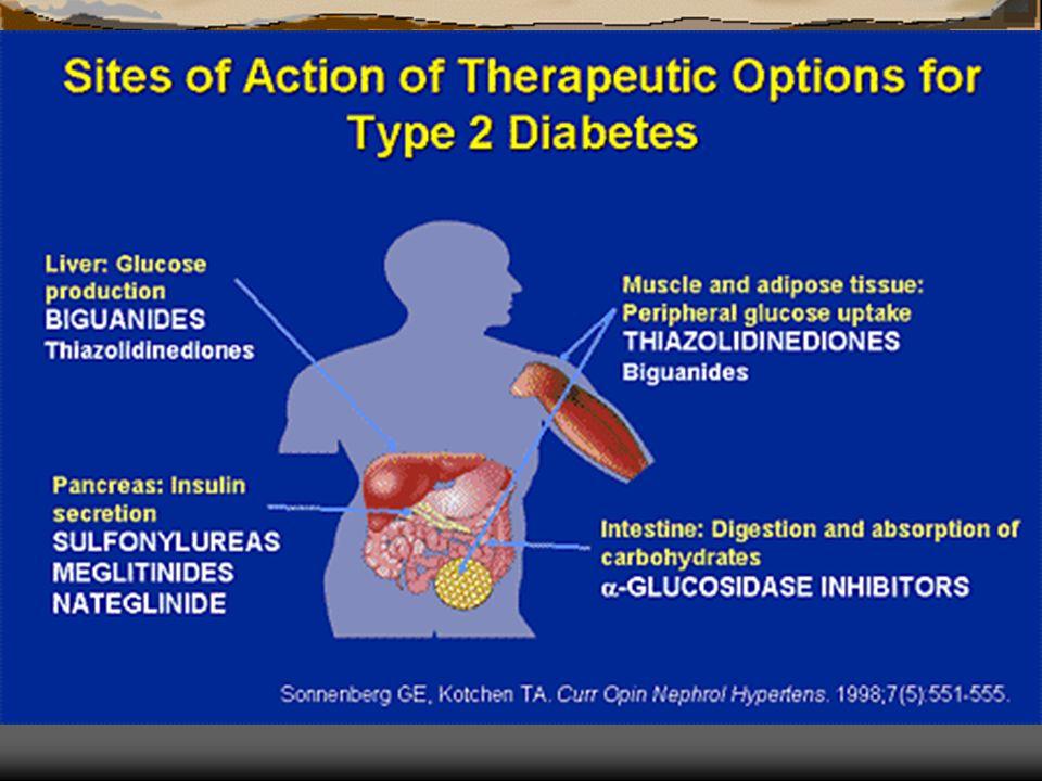 Classificação dos Agentes Anti-diabéticos orais 1 – Secretores de insulina sulfonilureias - acção prolongada - - 1ª geração ( acetohexamida, clorpropamida, tolazamida, tolbutamida) - 2ª geração (glimepiride, glipizide, gliburide) metaglinidas (repaglinide, nateglinide) – acção rápida 2 – Sensibilizadores de insulina biguanidas (metformina) tiazolidinedionas (roziglitazona, pioglitazona) 3 – Inibidores da α glucosidase ( acarbose, miglitol )
