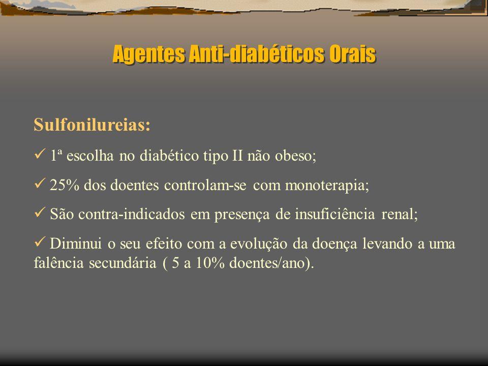 Tratamento Eficácia Clínica dos Agentes Hipoglicemiantes Orais: Classe dos agentes Redução Redução da glicémia hipoglicemiantes da HbA 1c (%) em jejum (mg / dl [mmol / l]) Sulfonilureias 0.8 – 2.060 – 70 [ 3.3 – 3.9] Meglitinidas 0.5 – 2.065 – 75 [ 3.6 – 4.2] Biguanidas 1.5 – 2.050 – 70 [ 2.8 – 3.9] Tiazolidinedionas 0.5 – 1.525 – 50 [ 1.4 – 2.8] Inibidores 0.7 – 1.035 – 40 [ 1.9 – 2.2] alfa-glucosidase American Family Physician – May 1, 2001- Volume 63 nº 9