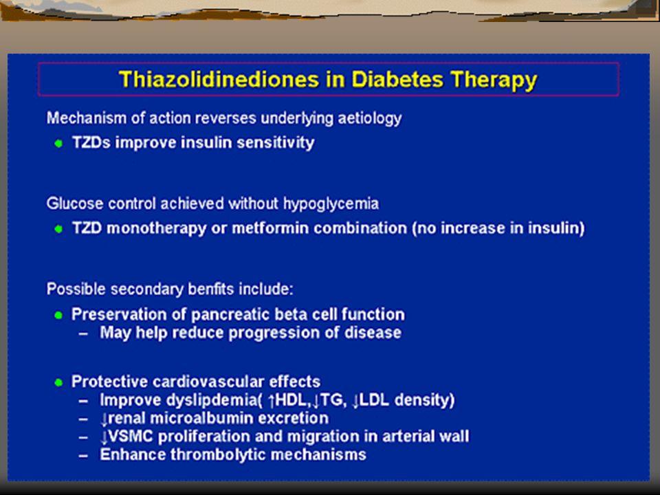Tiazolidinedionas Troglitazona, pioglitazona, rosiglitazona, etc Aumento dos efeitos periféricos da insulina > uptake glicose musculo Actuação nos receptores PPAR gama Toxicidade hepática