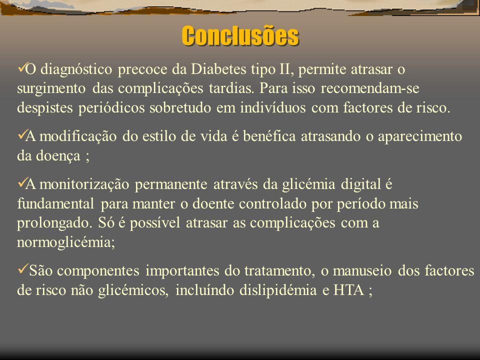 Algoritmo de tratamento da Diabetes Tipo 2 GPJ >126 Dieta e exercício 126-140 mg/dL140-200 mg/dL200-240 mg/dL240-300 mg/dL>300 mg/dL Metformina Glitazonas Acarbose Sint Insulina S/ Sint Sulfonilureia SemS/Sint Sulfonilureia Critérios em evolução Se GPJ >140 mg/dL (126 mg/dL?) HbA 1c >8% (7%?) –Adicione 2º ADO e aumente até dose máxima Se não há melhoria: Tente outro sensibilizador Ou terapêutica tripla.