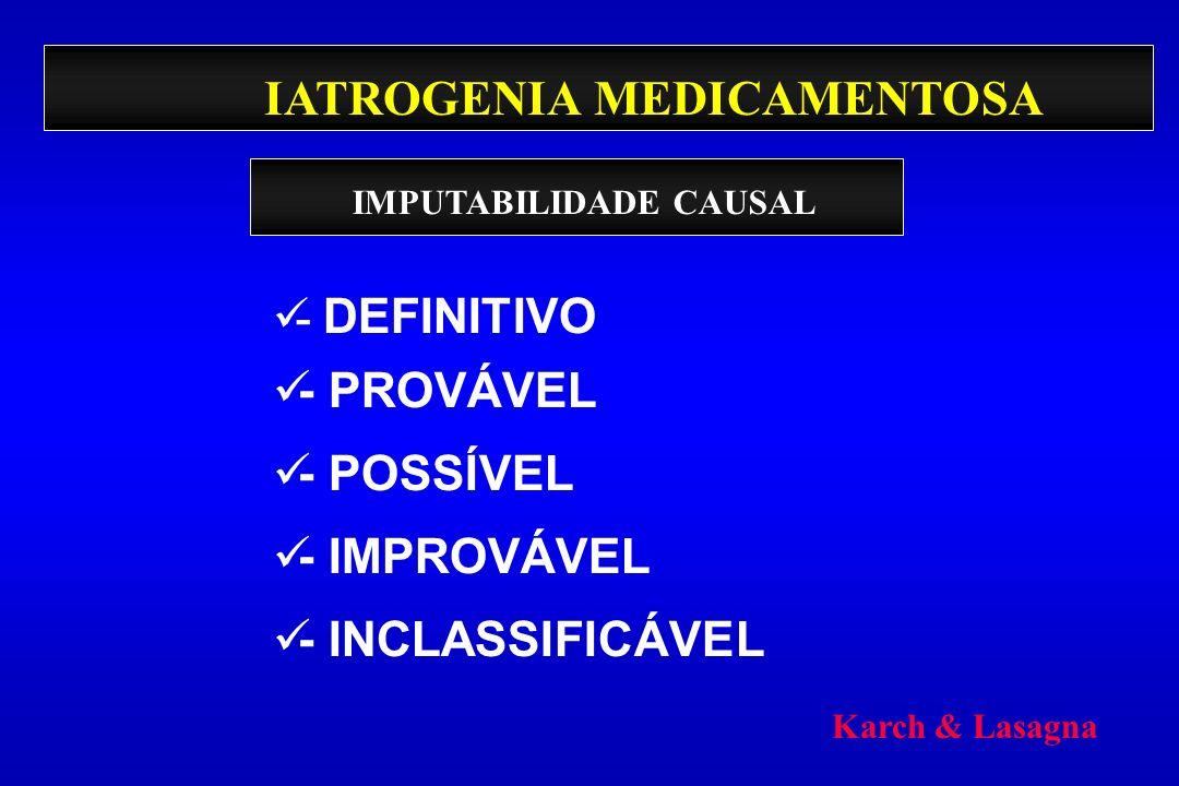 IATROGENIA MEDICAMENTOSA - DEFINITIVO - PROVÁVEL - POSSÍVEL - IMPROVÁVEL - INCLASSIFICÁVEL IMPUTABILIDADE CAUSAL Karch & Lasagna