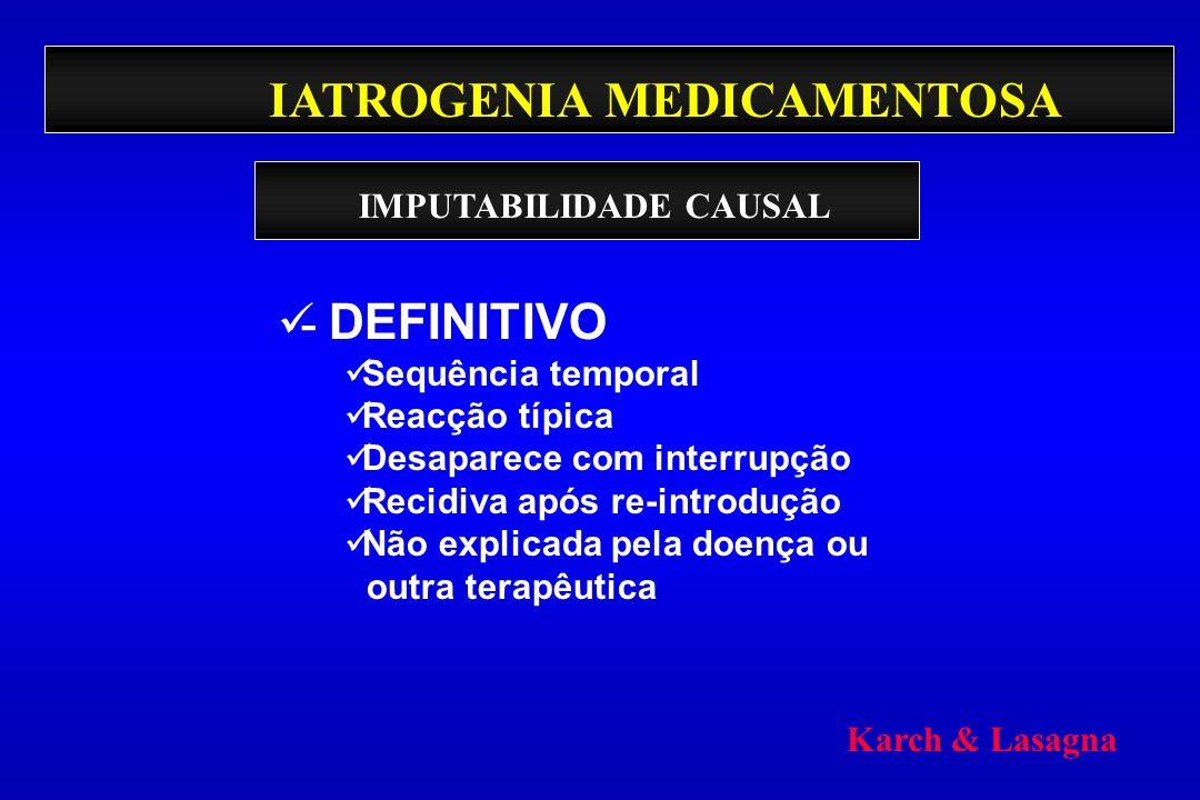 IATROGENIA MEDICAMENTOSA - DEFINITIVO Sequência temporal Reacção típica Desaparece com interrupção Recidiva após re-introdução Não explicada pela doen