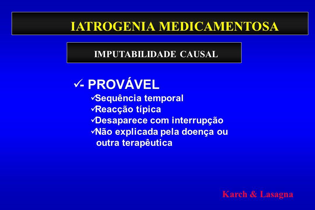 IATROGENIA MEDICAMENTOSA - PROVÁVEL Sequência temporal Reacção típica Desaparece com interrupção Não explicada pela doença ou outra terapêutica IMPUTA