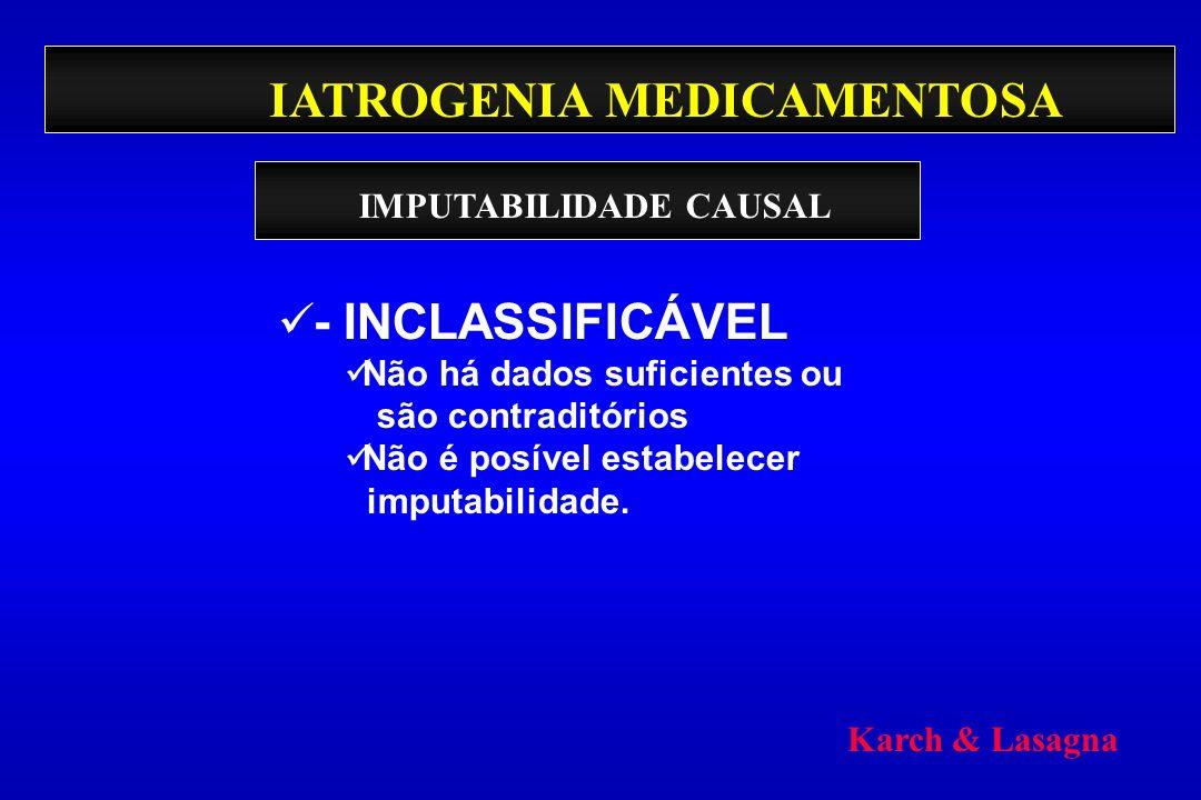 IATROGENIA MEDICAMENTOSA - INCLASSIFICÁVEL Não há dados suficientes ou são contraditórios Não é posível estabelecer imputabilidade. IMPUTABILIDADE CAU