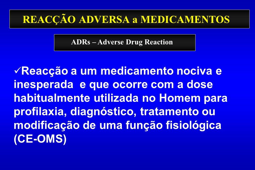 REACÇÃO ADVERSA a MEDICAMENTOS Reacção a um medicamento nociva e inesperada e que ocorre com a dose habitualmente utilizada no Homem para profilaxia,
