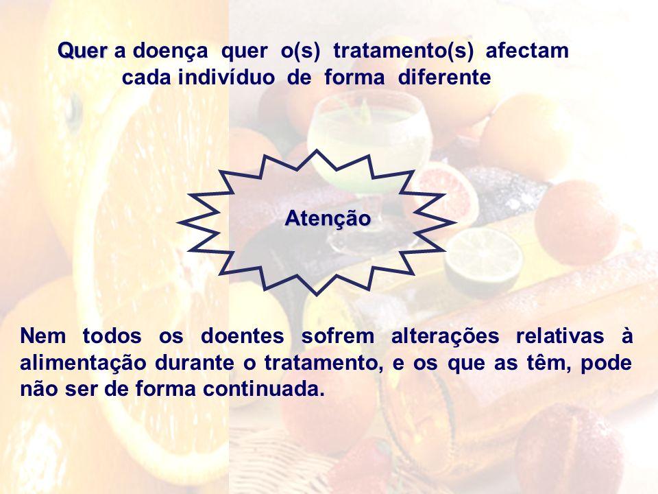 Quer Quer a doença quer o(s) tratamento(s) afectam cada indivíduo de forma diferente Nem todos os doentes sofrem alterações relativas à alimentação du