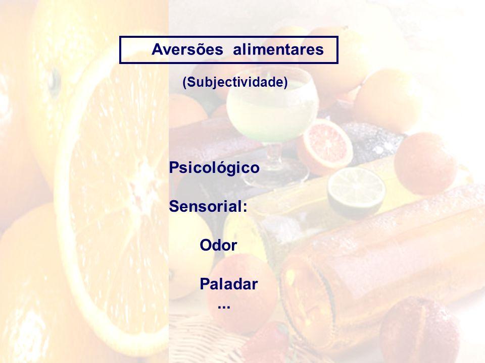 Aversões alimentares (Subjectividade) Psicológico Sensorial: Odor Paladar...