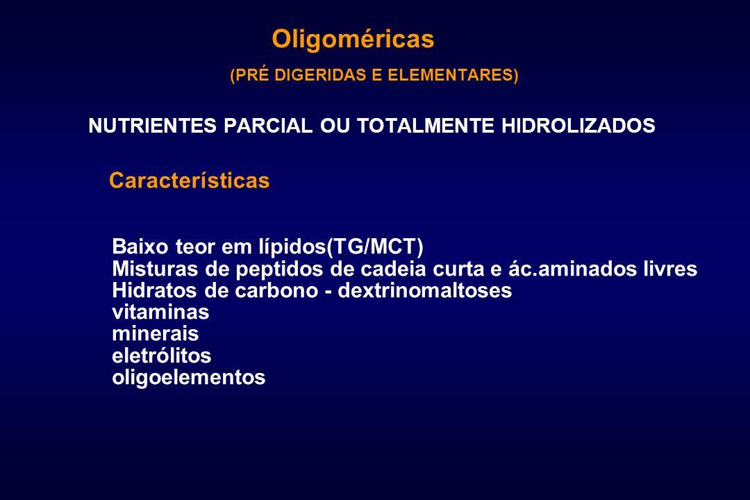 (PRÉ DIGERIDAS E ELEMENTARES) NUTRIENTES PARCIAL OU TOTALMENTE HIDROLIZADOS Características Baixo teor em lípidos(TG/MCT) Misturas de peptidos de cade