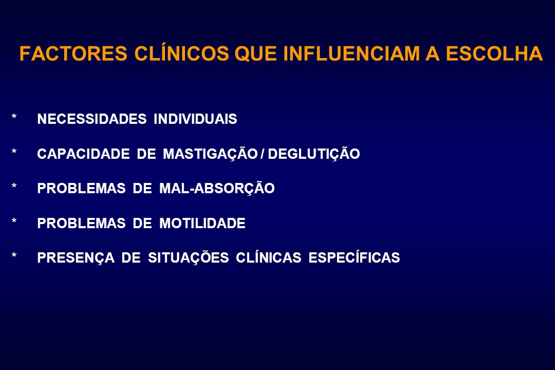 INDICAÇÕES PARA A NUTRIÇÃO PARENTÉRICA Suporte Nutricional Repouso funcional do tubo digestivo - Malnutrição proteico- calórica - Anorexia - Vómitos crónicos - diarreias crónicas - Síndromes de má-absorção - Estados hipercatabólicos - Sepsis - Pré-operatório - Pós-operatório - Politraumatizados - Queimados - Cancro (rádio e quimioterapia) - Insuficiência hepática, renal e cardíaca.