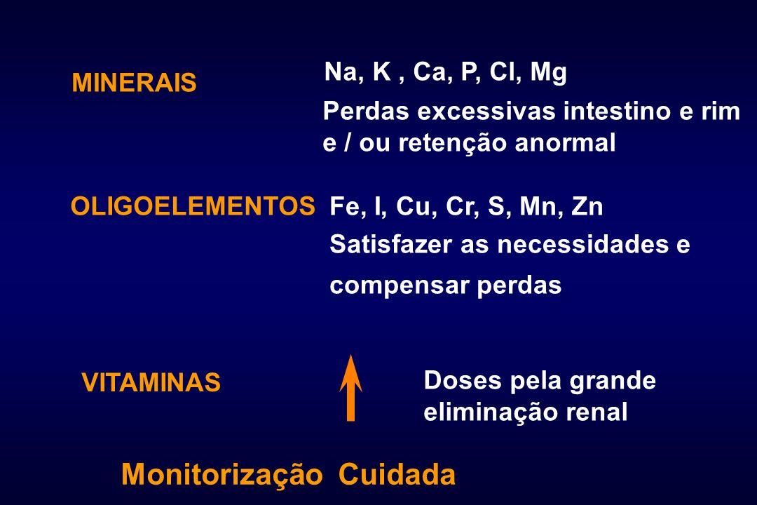 MINERAIS OLIGOELEMENTOS VITAMINAS Na, K, Ca, P, Cl, Mg Perdas excessivas intestino e rim e / ou retenção anormal Fe, I, Cu, Cr, S, Mn, Zn Satisfazer a