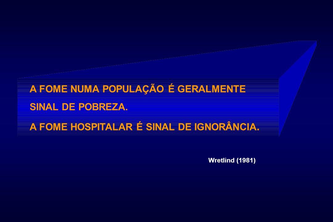 A FOME NUMA POPULAÇÃO É GERALMENTE SINAL DE POBREZA. A FOME HOSPITALAR É SINAL DE IGNORÂNCIA. Wretlind (1981)