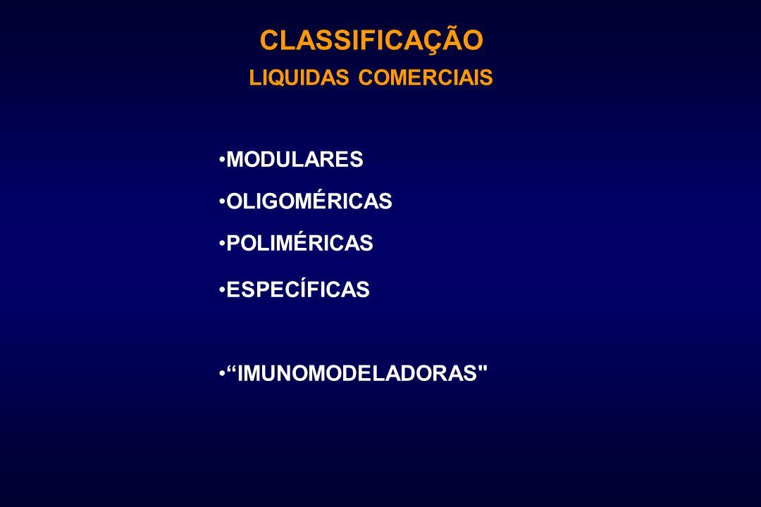 CLASSIFICAÇÃO LIQUIDAS COMERCIAIS POLIMÉRICAS OLIGOMÉRICAS MODULARES ESPECÍFICAS IMUNOMODELADORAS