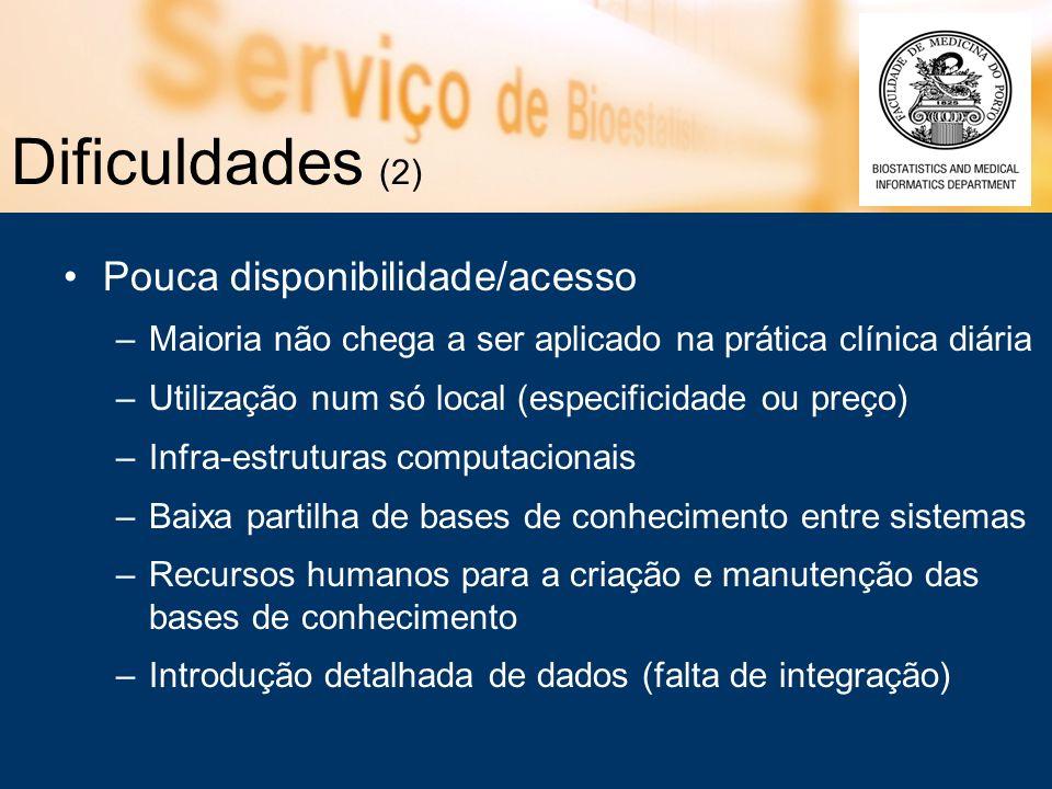 Dificuldades (2) Pouca disponibilidade/acesso –Maioria não chega a ser aplicado na prática clínica diária –Utilização num só local (especificidade ou