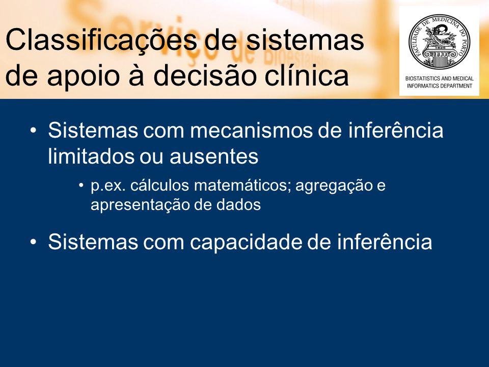 Classificações de SADC com base em diferentes características Tipo de decisão (diagnóstico, terapêutica) Área /domínio médico (especialidade) Obtenção dos dados clínicos do doente –interacção directa do utilizador com aplicação –analisando resultados de aparelhos médicos –utilizando os dados de sistemas de informação com os quais estão interligados