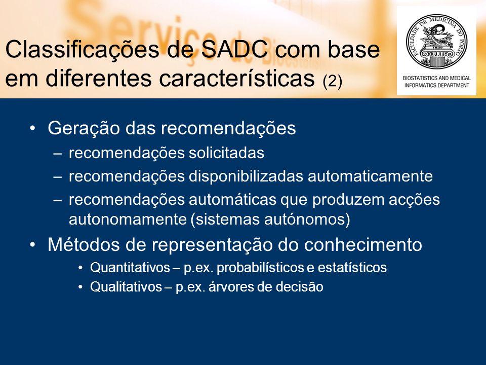 Classificações de SADC com base em diferentes características (2) Geração das recomendações –recomendações solicitadas –recomendações disponibilizadas